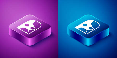 Isometric Mexican wrestler icon isolated on blue and purple background. Square button. Vector
