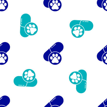 Blue Dog pill icon isolated seamless pattern on white background. Prescription medicine for animal. Vector