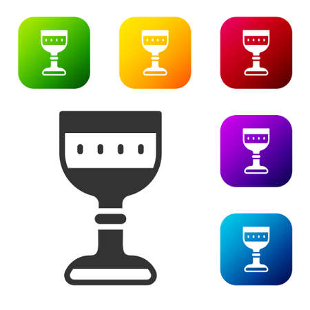 Black Medieval goblet icon isolated on white background. Set icons in color square buttons. Vector