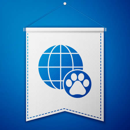 Blue World pet icon isolated on blue background. White pennant template. Vector