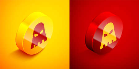 Isometric Executioner mask icon isolated on orange and red background. Hangman, torturer, executor, tormentor, butcher, headsman icon. Circle button. Vector