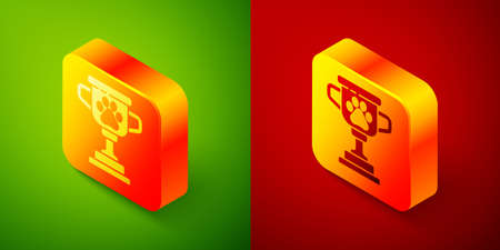 Isometric Pet award symbol icon isolated on green and red background. Medal with dog footprint as pets exhibition winner concept. Square button. Vector  イラスト・ベクター素材