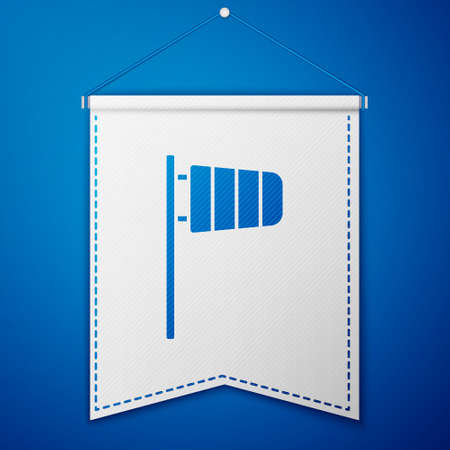 Blue Cone meteorology windsock wind vane icon isolated on blue background. Windsock indicate the direction and strength of the wind. White pennant template. Vector