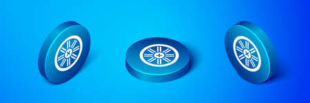 Isometric Old wooden wheel icon isolated on blue background. Blue circle button. Vector