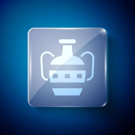 White Ancient amphorae icon isolated on blue background. Square glass panels. Vector
