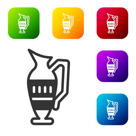 Black Ancient amphorae icon isolated on white background. Set icons in color square buttons. Vector