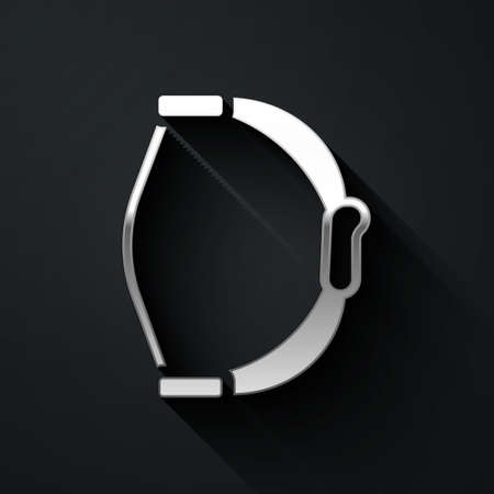 Silver Bow toy icon isolated on black background. Long shadow style. Vector