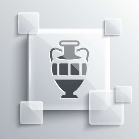 Grey Ancient amphorae icon isolated on grey background. Square glass panels. Vector