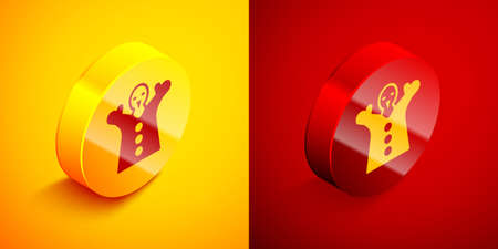 Isometric Toy puppet doll on hand icon isolated on orange and red background. Circle button. Vector