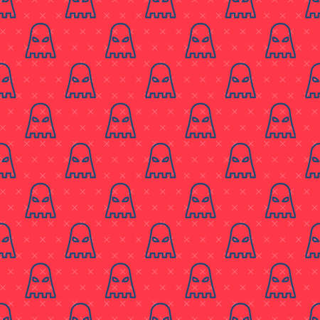 Blue line Executioner mask icon isolated seamless pattern on red background. Hangman, torturer, executor, tormentor, butcher, headsman icon. Vector 스톡 콘텐츠 - 150810813