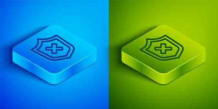 Isometric line Shield with cross mark icon isolated on blue and green background. Shield and rejected. Notice of refusal. Square button. Vector 일러스트