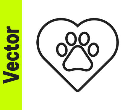 Black line Heart with animals footprint icon isolated on white background. Pet paw in heart. Love to the animals. Vector  イラスト・ベクター素材
