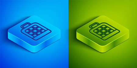 Isometric line Pet carry case icon isolated on blue and green background. Carrier for animals, dog and cat. Container for animals. Animal transport box. Square button. Vector  イラスト・ベクター素材