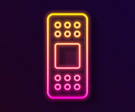 Glowing neon line Bandage plaster icon isolated on black background. Medical plaster, adhesive bandage, flexible fabric bandage. Vector