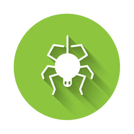 White Spider icon isolated with long shadow. Happy Halloween party. Green circle button. Vector