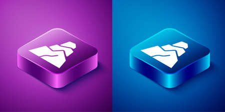 Isometric Rock stones icon isolated on blue and purple background. Square button. Vector