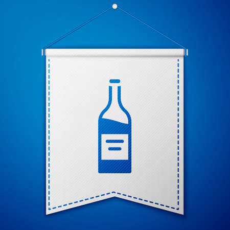 Blue Bottle of wine icon isolated on blue background. White pennant template. Vector