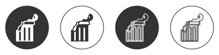 Black Broken ancient column icon isolated on white background. Circle button. Vector
