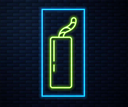 Glowing neon line Detonate dynamite bomb stick and timer clock icon isolated on brick wall background. Time bomb - explosion danger concept. Vector