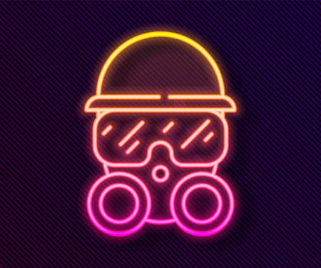 Glowing neon line Gas mask icon isolated on black background. Respirator sign. Vector 일러스트