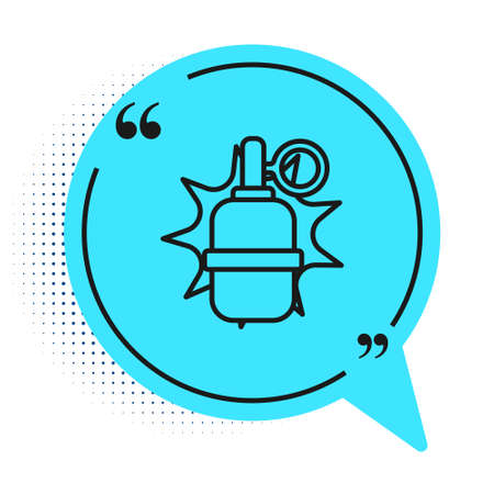 Black line Hand grenade icon isolated on white background. Bomb explosion. Blue speech bubble symbol. Vector