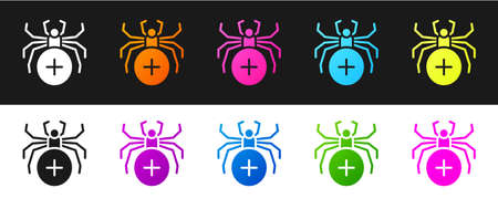 Set Spider icon isolated on black and white background. Happy Halloween party. Vector