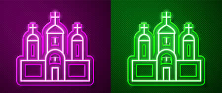Glowing neon line Church building icon isolated on purple and green background. Christian Church. Religion of church. Vector