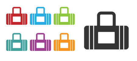 Black Sport bag icon isolated on white background. Set icons colorful. Vector