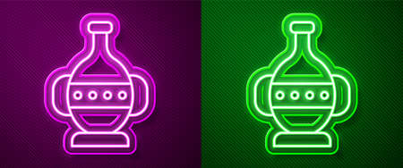 Glowing neon line Ancient amphorae icon isolated on purple and green background. Vector