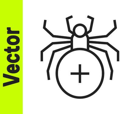Black line Spider icon isolated on white background. Happy Halloween party. Vector Ilustração