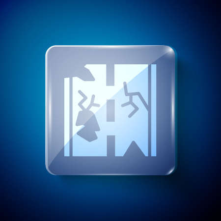 White Broken road icon isolated on blue background. Square glass panels. Vector