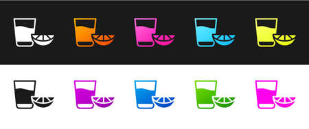 Set Tequila glass with lemon icon isolated on black and white background. Mexican alcohol drink. Vector. Ilustracja