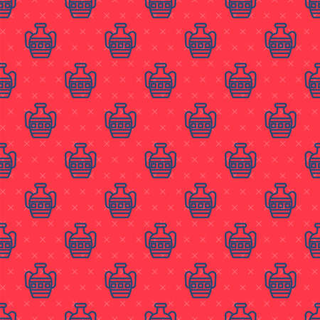 Blue line Ancient amphorae icon isolated seamless pattern on red background. Vector