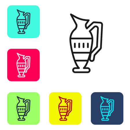 Black line Ancient amphorae icon isolated on white background. Set icons in color square buttons. Vector Illusztráció