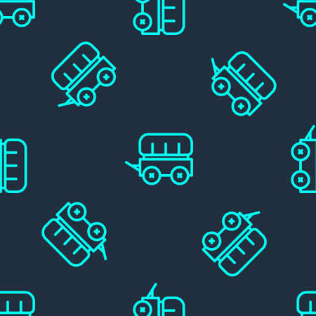 Green line Wild west covered wagon icon isolated seamless pattern on blue background. Vector