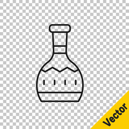 Black line Tequila bottle icon isolated on transparent background. Mexican alcohol drink. Vector
