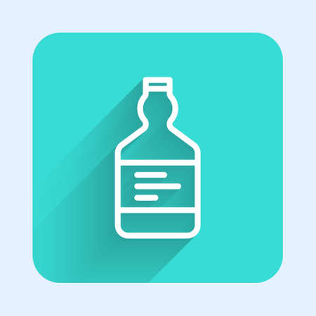White line Tequila bottle icon isolated with long shadow. Mexican alcohol drink. Green square button. Vector