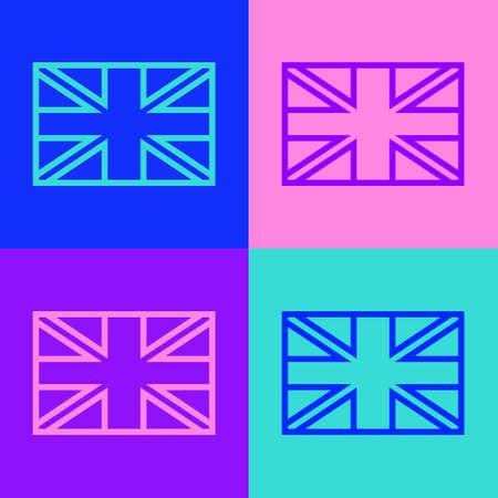 Pop art line Flag of Great Britain icon isolated on color background. UK flag sign. Official United Kingdom flag. British symbol. Vector Ilustração