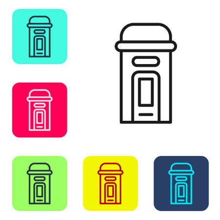 Black line London phone booth icon isolated on white background. Classic english booth phone in london. English telephone street box. Set icons in color square buttons. Vector