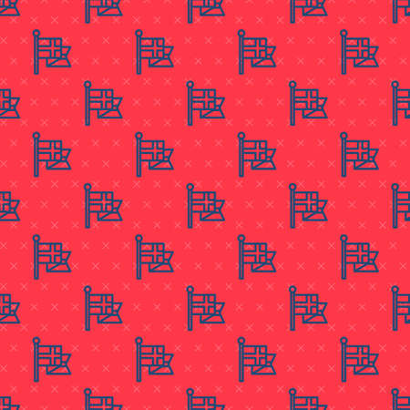 Blue line Flag of England on flagpole icon isolated seamless pattern on red background. Vector