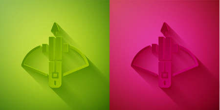 Paper cut Battle crossbow with arrow icon isolated on green and pink background. Paper art style. Vector. 일러스트
