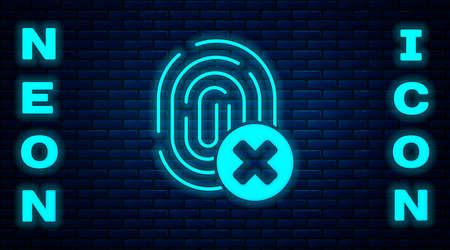 Glowing neon Cancelled fingerprint icon isolated on brick wall background. Access denied for user concept. Error, fraud. Identification sign. Touch id.  Vector.