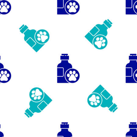 Blue Pet shampoo icon isolated seamless pattern on white background. Pets care sign. Dog cleaning symbol. Vector.