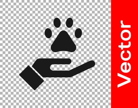 Black Hands with animals footprint icon isolated on transparent background. Pet paw in heart. Love to the animals. Vector. 일러스트