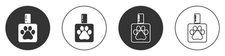 Black Pet shampoo icon isolated on white background. Pets care sign. Dog cleaning symbol. Circle button. Vector. 일러스트