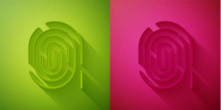 Paper cut Fingerprint icon isolated on green and pink background. ID app icon. Identification sign. Touch id. Paper art style. Vector. Çizim