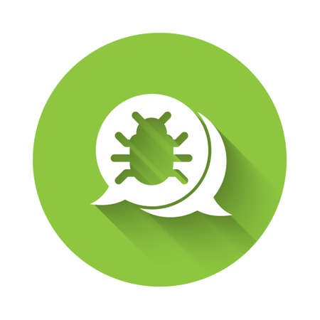 White System bug concept icon isolated with long shadow. Code bug concept. Bug in the system. Bug searching. Green circle button. Vector.