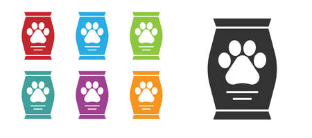 Black Bag of food for dog icon isolated on white background. Dog or cat paw print. Food for animals. Pet food package. Set icons colorful. Vector. 向量圖像