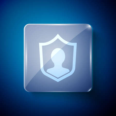 White User protection icon isolated on blue background. Secure user login, password protected, personal data protection, authentication. Square glass panels. Vector.