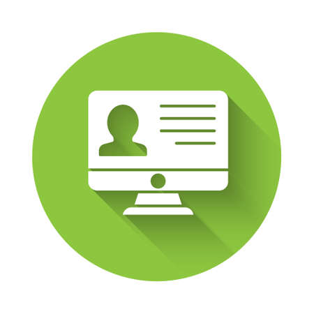 White Computer monitor with resume icon isolated with long shadow. CV application. Searching professional staff. Analyzing personnel resume. Green circle button. Vector. Illusztráció